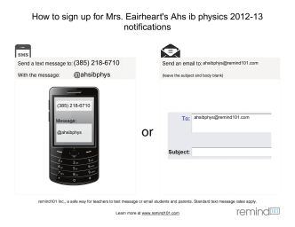 How to sign up for Mrs. Eairhearts Ahs ib physics 2012-13 notifications