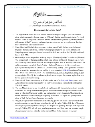 How to spend the Lailatul Qadr - Khalifatullahmehdi.info