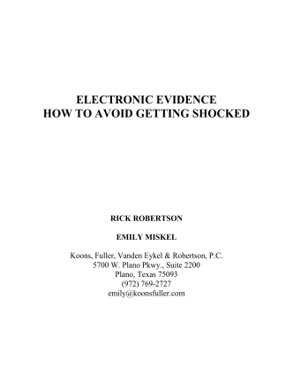 ELECTRONIC EVIDENCE HOW TO AVOID GETTING - Emily Miskel