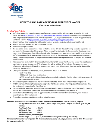 HOW TO CALCULATE ABC NORCAL APPRENTICE WAGES