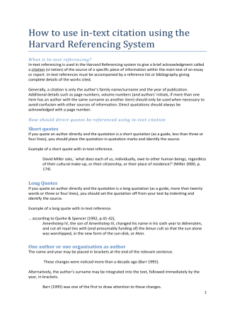 How to use in-text citation using the Harvard Referencing System