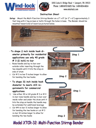 Re-Bar Bender - instruction sheet how-to a - Wind-lock