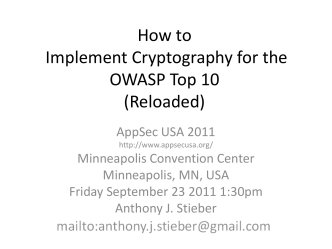 How to Implement Cryptography for the OWASP Top 10 (Reloaded)