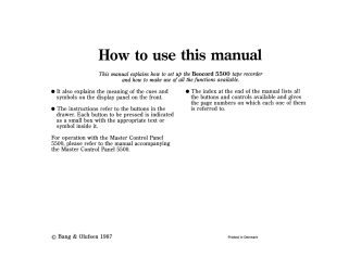 How to use this manual