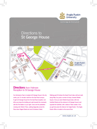 Map of how to find St. George House from the Cambridge campus