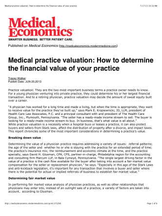 Medical practice valuation: How to determine the financial value of