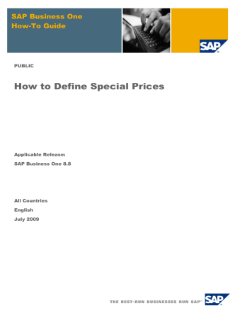 How to Define Special Prices - Pioneer B1