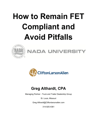 How to Remain FET Compliant and Avoid Pitfalls - NADA