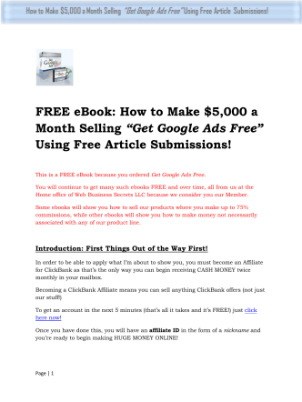 "FREE eBook: How to Make $5,000 a Month Selling ""Get Google Ads"
