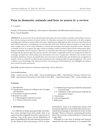 Pain in domestic animals and how to assess it: a review