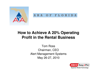 How to Achieve A 20% Operating Profit in the Rental Business