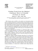 Finding Truth from the Medical Literature: How to Critically Evaluate