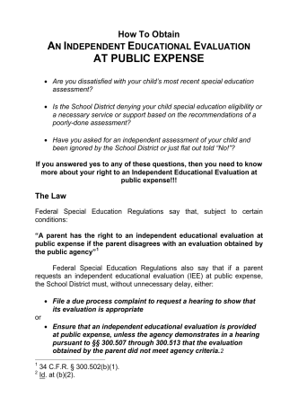 How to Obtain an Independent Educational Evaluation at Public