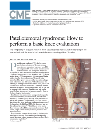 Patellofemoral syndrome: How to perform a basic knee evaluation