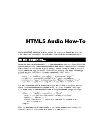 HTML5 Audio How-To