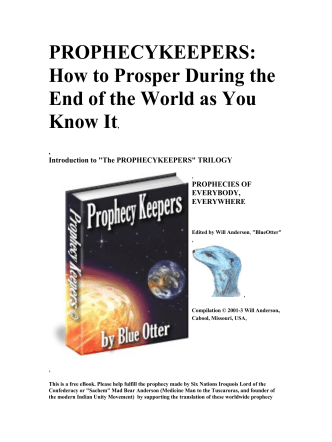 PROPHECYKEEPERS: How to Prosper During the End of the World