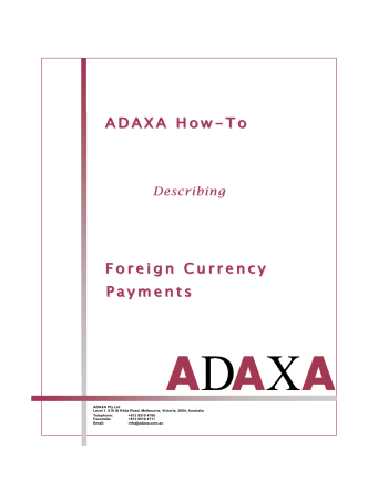 ADAXA How ADAXA How-To Foreign Currency Payments
