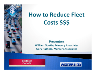 How to Reduce Fleet Costs $$$ - Mercury Associates, Inc.