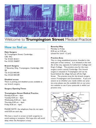 How to find us - Trumpington Street Medical Practice