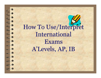 How To Use/Interpret International Exams ALevels, AP, IB