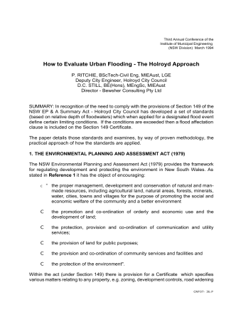 How to Evaluate Urban Flooding - The Holroyd Approach - Bewsher