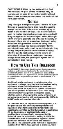 NOTICE HOW TO USE THIS RULEBOOK - NHRA.com