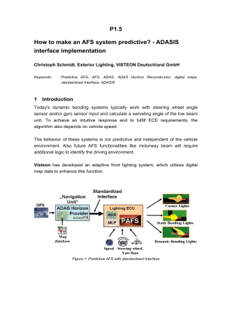 P1.5 How to make an AFS system predictive? - ADASIS interface