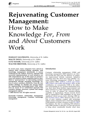 Rejuvenating Customer Management: How to Make Knowledge For