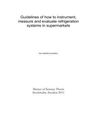 Guidelines of how to instrument, measure and evaluate refrigeration