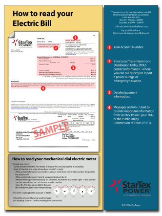 How to Read your Bill - Commercial Bill - StarTex Power