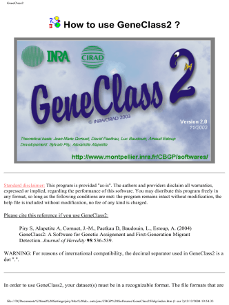 How to use GeneClass2 ? - Inra