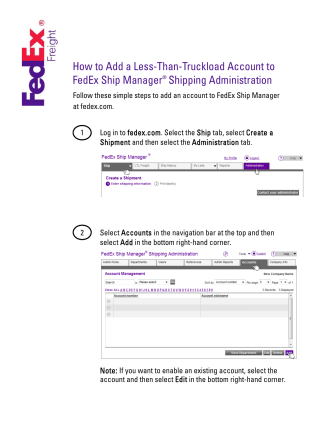 How to Add a Less-Than-Truckload Account to FedEx Ship Manager