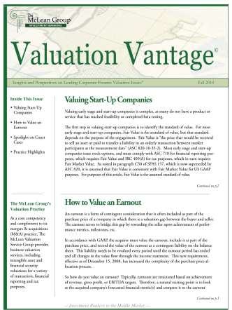 Valuing Start-Up Companies How to Value an Earnout
