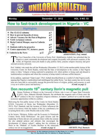 How to fast-track development in Nigeria – VC - University of Ilorin