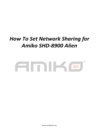 How To Set Network Sharing for Amiko SHD-8900 Alien