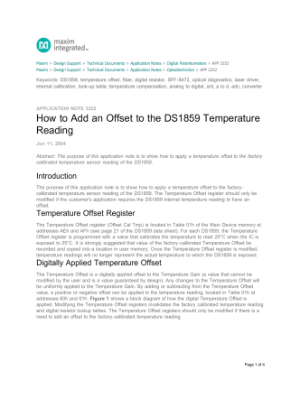 How to Add an Offset to the DS1859 Temperature Reading - Maxim