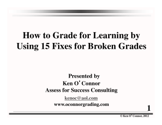 How to Grade for Learning by Using 15 Fixes for Broken Grades