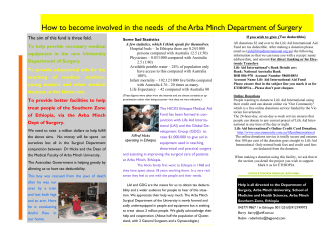 How to become involved in the needs of the Arba Minch Department