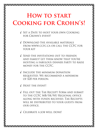 How to start Cooking for Crohns!