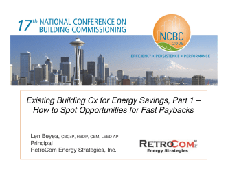 Existing Building Cx for Energy Savings, Part 1 – How to Spot