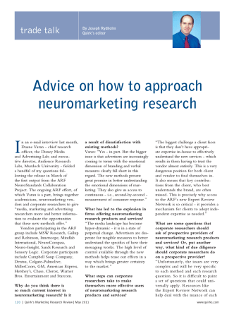 Advice on how to approach neuromarketing research