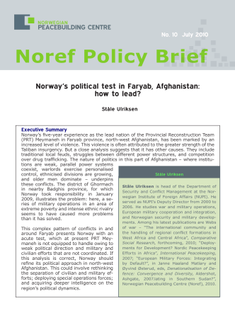 Norways political test in Faryab, Afghanistan: how to lead? - NOREF