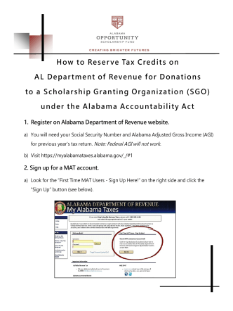 How to Reserve Tax Credits on AL Department of Revenue for