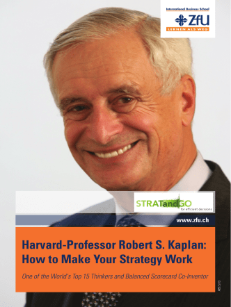Harvard-Professor Robert S. Kaplan: How to Make Your Strategy Work