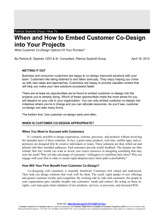 When and How to Embed Customer Co-Design - Customers.com