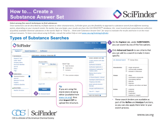 SciFinder - How to Create a Substance Answer Set - Chemical