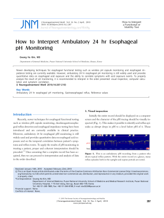 How to Interpret Ambulatory 24 hr Esophageal pH Monitoring