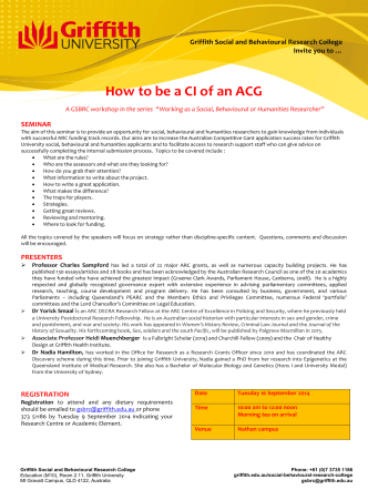 How to be a CI of an ACG - Griffith University