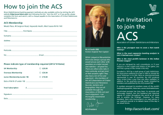 How to join the ACS - Association of Cricket Statisticians and