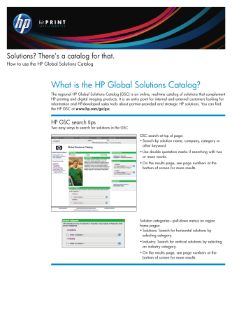 Solutions? Theres a catalog for that. How to use the HP Global